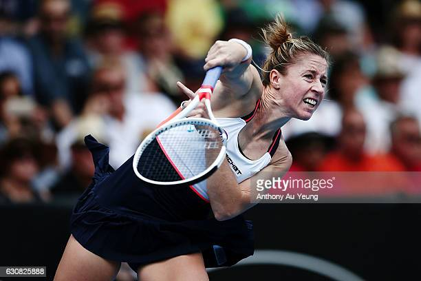 Pauline Parmentier of France serves in her match against Serena Williams of USA on day two of the ASB Classic on January 3 2017 in Auckland New...