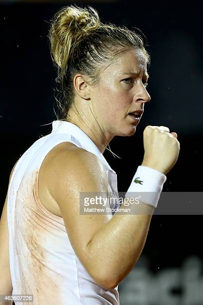 Pauline Parmentier of France winning the second set against Gabriela Ce of Brazil during the Rio Open at the Jockey Club Brasileiro on February 16...