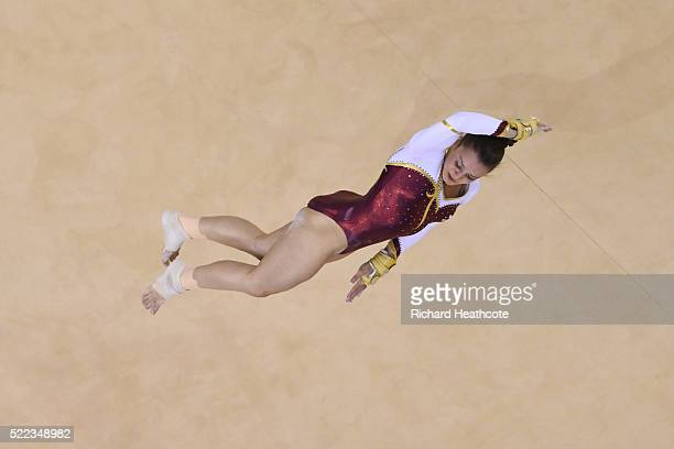 Pauline Schaefer of Germany competes in the floor final during the Artistic Gymnastics Aquece Rio Test Event at the Olympic Olympic Arena on April 18...