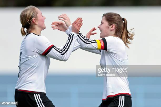 Pauline Wimmer and Pauline Berning of Germany U16 Girls celebrating the goal during the match between U16 Girls Portugal v U16 Girls Germany on the...