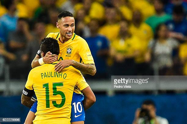 Paulinho and Neymar of Brazil celebrates a scored goal against Argentina during a match between Brazil and Argentina as part 2018 FIFA World Cup...