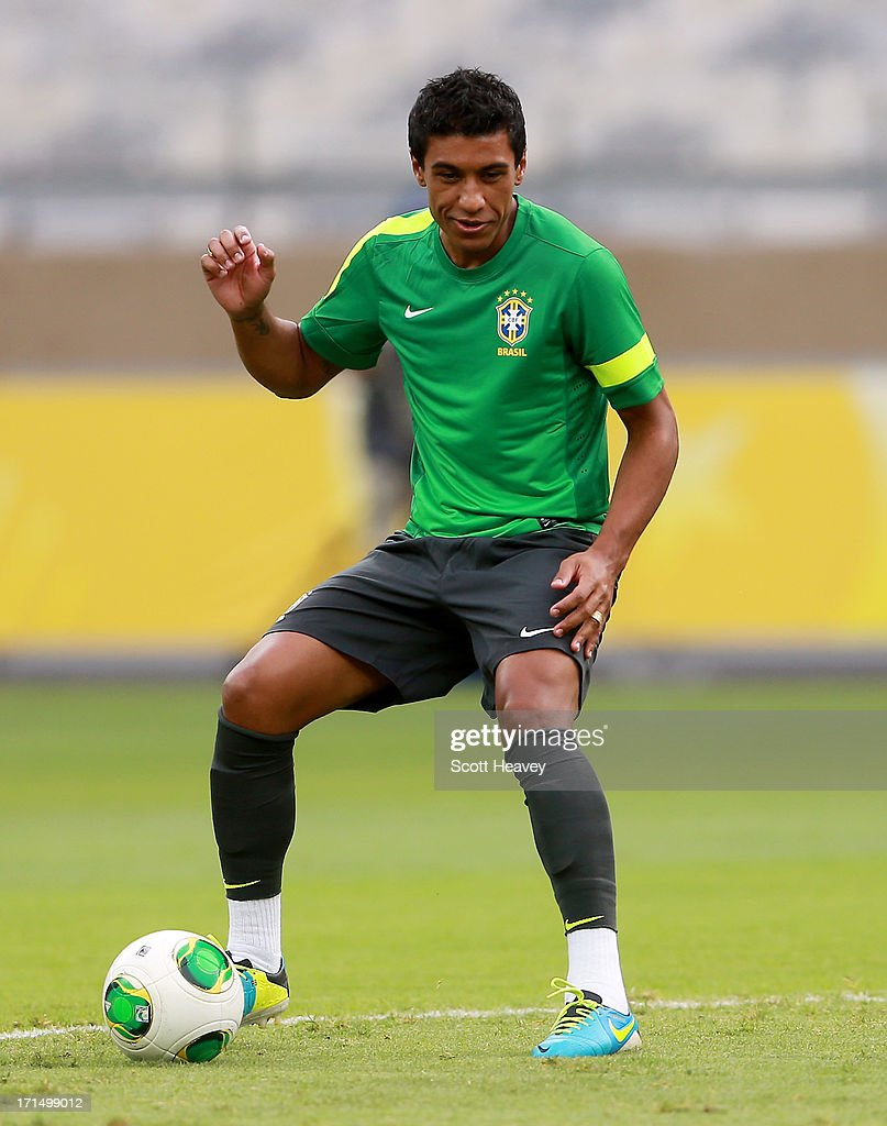Paulinho in action during a Brazil training session ahead of their FIFA Confederations Cup 2013 Semi Final match against Uruguay on June 25, 2013 in Belo Horizonte, Brazil.