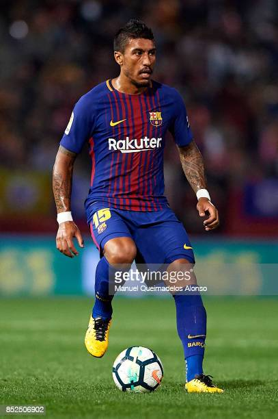 Paulinho of Barcelona in action during the La Liga match between Girona and Barcelona at Municipal de Montilivi Stadium on September 23 2017 in...