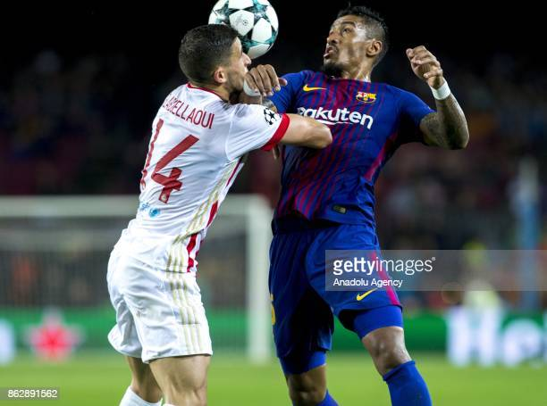 Paulinho of Barcelona in action during the UEFA Champions League Group D soccer match between Barcelona and Olympiacos at Camp Nou in Barcelona Spain...