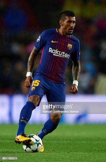 Paulinho of Barcelona in action during the UEFA Champions League group D match between FC Barcelona and Olympiakos Piraeus at Camp Nou on October 18...