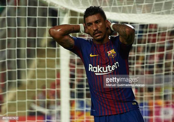 Paulinho of Barcelona reacts during the La Liga match between Girona and Barcelona at Municipal de Montilivi Stadium on September 23 2017 in Girona...