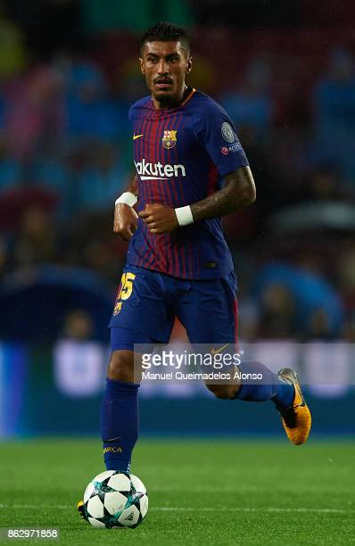 Paulinho of Barcelona runs with the ball during the UEFA Champions League group D match between FC Barcelona and Olympiakos Piraeus at Camp Nou on...