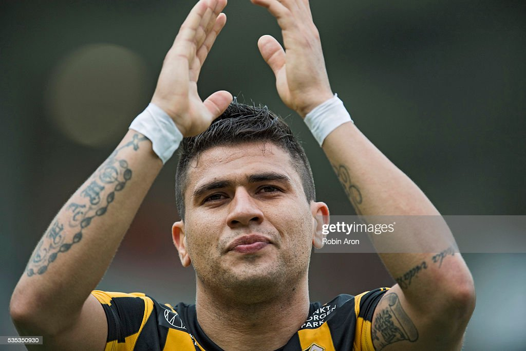 Paulinho of BK Hacken celebrates after winning the Allsvenskan match between BK Hacken and Djurgardens IF at Bravida Arena on May 29, 2016 in Gothenburg, Sweden.