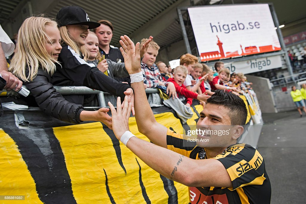 Paulinho of BK Hacken celebrates with the fans after winning the Allsvenskan match between BK Hacken and Djurgardens IF at Bravida Arena on May 29, 2016 in Gothenburg, Sweden.