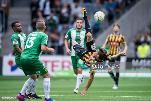 Paulinho of BK Hacken does a round kick during the Allsvenskan match between Hammarby IF and BK Hacken at Tele2 Arena on August 6 2017 in Stockholm...