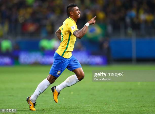 Paulinho of Brazil celebrates a scored goal against Ecuador during a match between Brazil and Ecuador as part of 2018 FIFA World Cup Russia Qualifier...