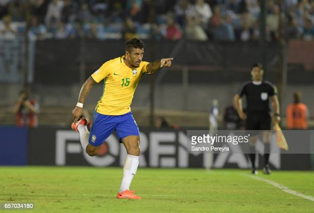 Paulinho of Brazil celebrates after scoring the first goal of his team during a match between Uruguay and Brazil as part of FIFA 2018 World Cup...