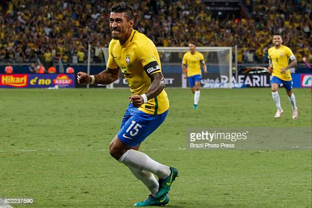 Paulinho of Brazil celebrates after scoring the third goal of his team during a match between Argentina and Brazil as part of FIFA 2018 World Cup...