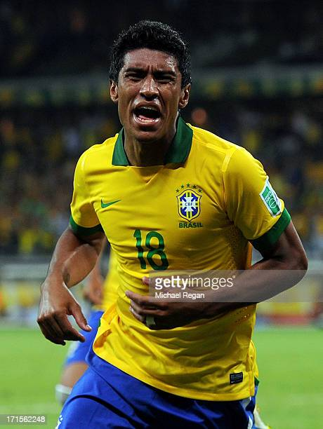 Paulinho of Brazil celebrates scoring the winning goal to make the score 21 during the FIFA Confederations Cup Brazil 2013 Semi Final match between...