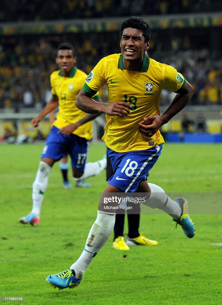 Paulinho of Brazil celebrates scoring the winning goal to make the score 2-1 during the FIFA Confederations Cup Brazil 2013 Semi Final match between Brazil and Uruguay at Governador Magalhaes Pinto Estadio Mineirao on June 26, 2013 in Belo Horizonte, Brazil.