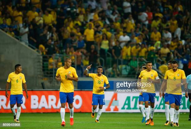 Paulinho of Brazil celebrates their first goal with his team mates during the match between Brazil and Chile for the 2018 FIFA World Cup Russia...