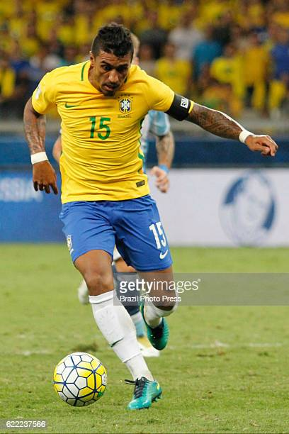 Paulinho of Brazil drives the ball during a match between Argentina and Brazil as part of FIFA 2018 World Cup Qualifiers at Mineirao Stadium on...