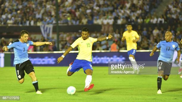 Paulinho of Brazil in action during FIFA 2018 World Cup Qualifiers match between Uruguay and Brazil at Centenario Stadium on March 23 2017 in...