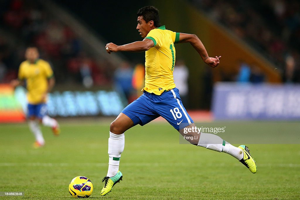 Paulinho of Brazil in action during the international friendly match between Brazil and Zambia at Beijing National Stadium on October 15, 2013 in Beijing, China.