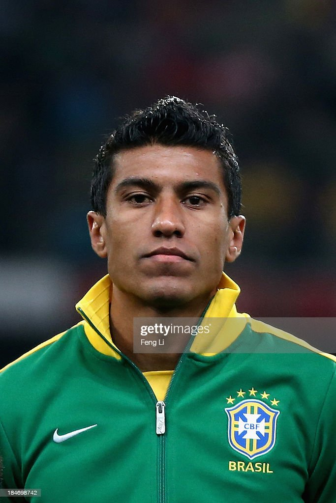 Paulinho of Brazil poses during the international friendly match between Brazil and Zambia at Beijing National Stadium on October 15, 2013 in Beijing, China.