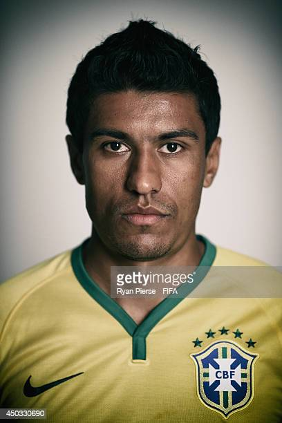 Paulinho of Brazil poses during the official FIFA World Cup 2014 portrait session on June 8 2014 in Rio de Janeiro Brazil