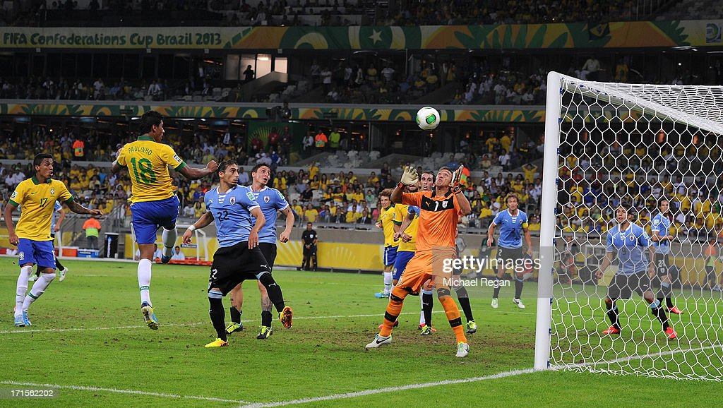 Paulinho of Brazil scores the winning goal during the FIFA Confederations Cup Brazil 2013 Semi Final match between Brazil and Uruguay at Governador Magalhaes Pinto Estadio Mineirao on June 26, 2013 in Belo Horizonte, Brazil.