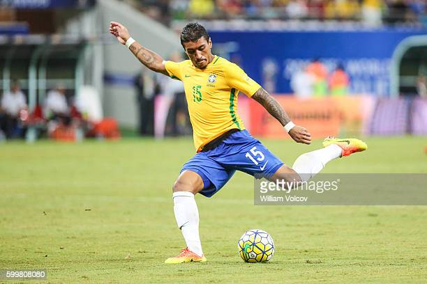 Paulinho of Brazil takes a shot during a match between Brazil and Colombia as part of FIFA 2018 World Cup Qualifiers at Arena Amazonia Stadium on...