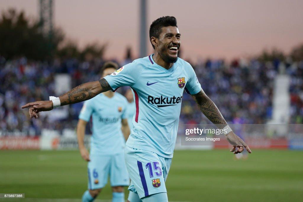 Paulinho of FC Barcelona celebrates 0-3 during the Spanish Primera Division match between Leganes v FC Barcelona at the Estadio Municipal de Butarque on November 18, 2017 in Madrid Spain