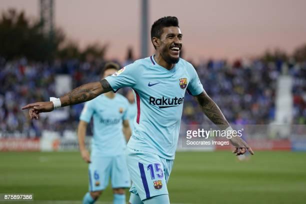 Paulinho of FC Barcelona celebrates 03 during the Spanish Primera Division match between Leganes v FC Barcelona at the Estadio Municipal de Butarque...