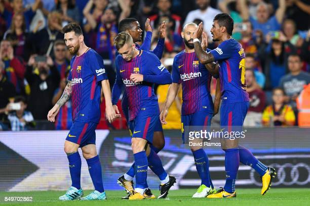 Paulinho of FC Barcelona celebrates with his team mates after scoring his team's second goal during the La Liga match between Barcelona and SD Eibar...