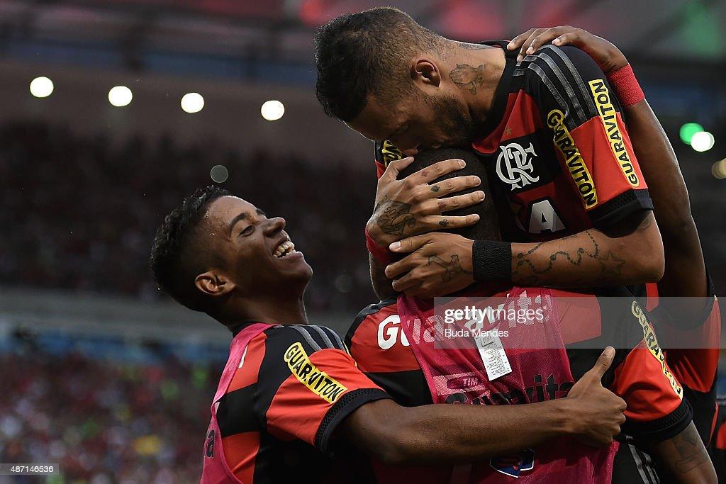 Paulinho of Flamengo celebrates after scoring a goal during a match between Flamengo and Fluminense as part of Brasileirao Series A 2015 at Maracana...