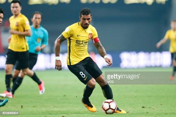 Paulinho of Guangzhou Evergrande controls the ball during the 18th round match of 2017 Chinese Football Association Super League between Shanghai...