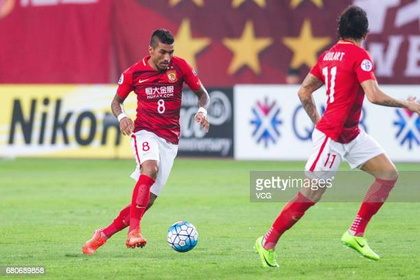 Paulinho of Guangzhou Evergrande dribbles during 2017 AFC Champions League group match G between Guangzhou Evergrande and Suwon Samsung Bluewings at...