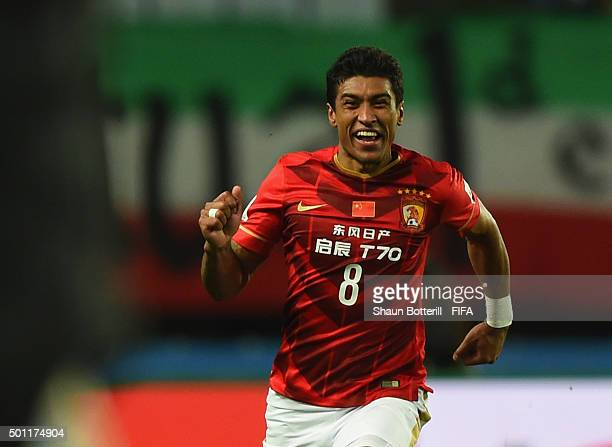 Paulinho of Guangzhou Evergrande FC celebrates after scoring the winning goal during the FIFA Club World Cup quarter final between the Club America...
