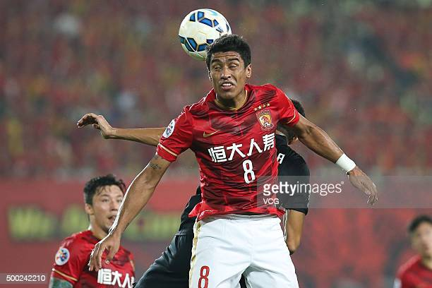 Paulinho of Guangzhou Evergrande heads the ball for competition during the second leg of the AFC Champions League final match between Guangzhou...