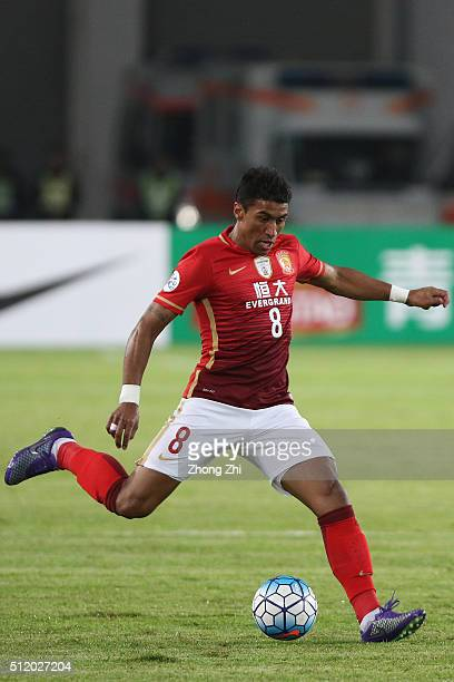 Paulinho of Guangzhou Evergrande in action during AFC Champions League Group H match between Guangzhou Evergrande FC and Pohang Steelers at Guangzhou...