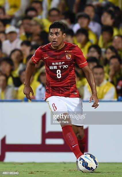 Paulinho of Guangzhou Evergrande in action during the AFC Champions League quarter final first leg match between Kashiwa Reysol and Guangzhou...