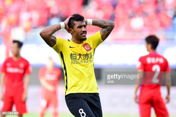 Paulinho of Guangzhou Evergrande reacts during the 12th round match of 2017 Chinese Football Association Super League between Yanbian Fude and...