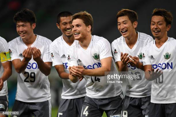 Paulinho of Matsumoto Yamaga celebrates scoring his side's first goal during the JLeague J2 match between Tokyo Verdy and Matsumoto Yamaga at...
