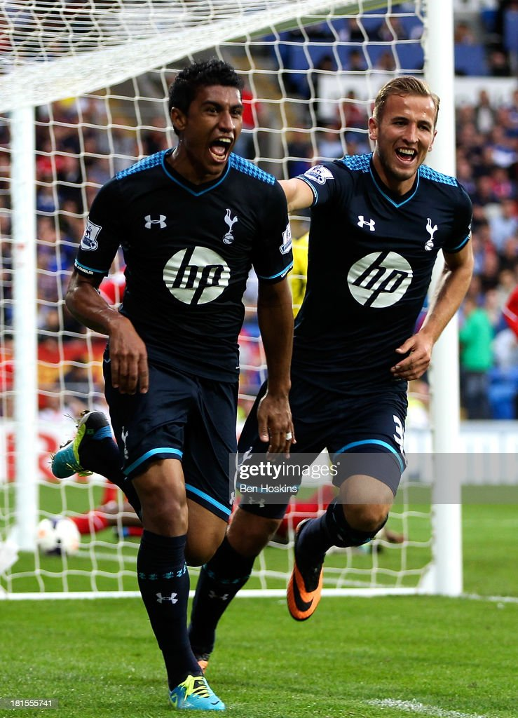 Paulinho of Tottenham celebrates after scoring the winning goal during the Barclays Premier League match between Cardiff City and Tottenham Hotspur at Cardiff City Stadium on September 22, 2013 in Cardiff, Wales.