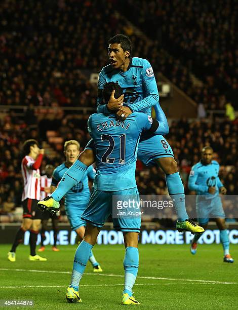 Paulinho of Tottenham celebrates his goal with team mate Nacer Chadli during the Barclays Premier League match between Sunderland and Tottenham...