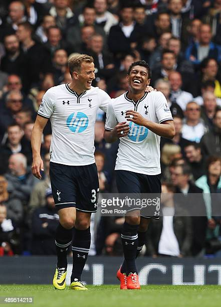 Paulinho of Tottenham Hotspur celebrates with team mate Harry Kane after scoring during the Barclays Premier League match between Tottenham Hotspur...