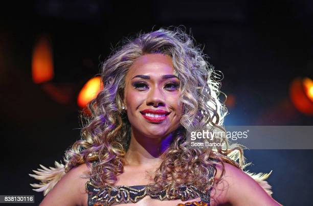 Paulini aka Pauline Curuenavuli performs during a production media call for The Bodyguard at Regent Theatre on August 24 2017 in Melbourne Australia