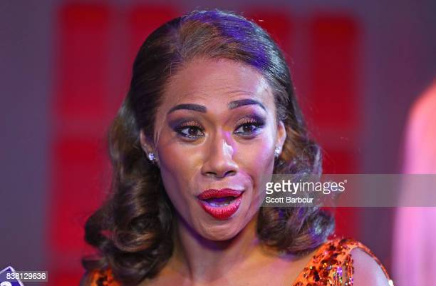 Paulini aka Pauline Curuenavuli poses during a production media call for The Bodyguard at Regent Theatre on August 24 2017 in Melbourne Australia