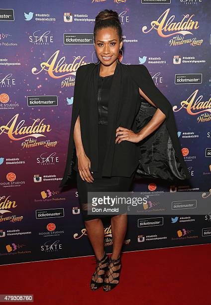 Paulini arrives at Aladdin And His Wondrous Lamp opening night at the State Theatre on July 3 2015 in Sydney Australia