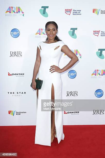 Paulini Curuenavuli arrives at the 28th Annual ARIA Awards 2014 at the Star on November 26 2014 in Sydney Australia