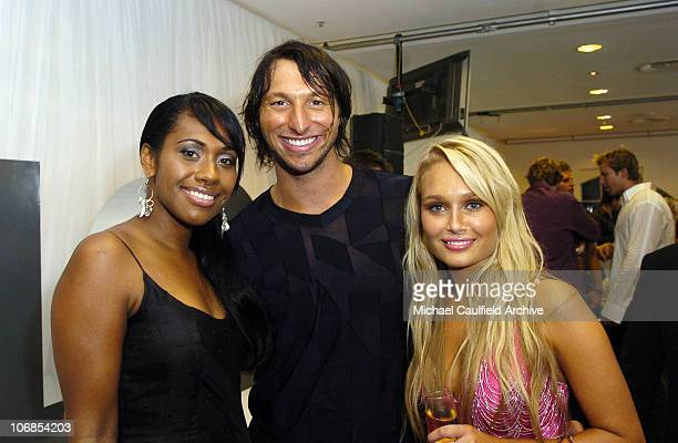 Paulini Ian Thorpe and Lee Furlong during 2005 MTV Australia Video Music Awards Green Room at Big Top Luna Park in Sydney New South Wales Australia