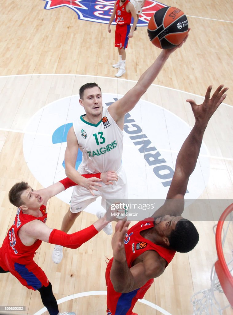 Paulius Jankunas, #13 of Zalgiris Kaunas competes with Kyle Hines, #42 of CSKA Moscow in action during the 2017/2018 Turkish Airlines EuroLeague Regular Season Round 5 game between CSKA Moscow and Zalgiris Kaunas at Megasport Arena on November 3, 2017 in Moscow, Russia.