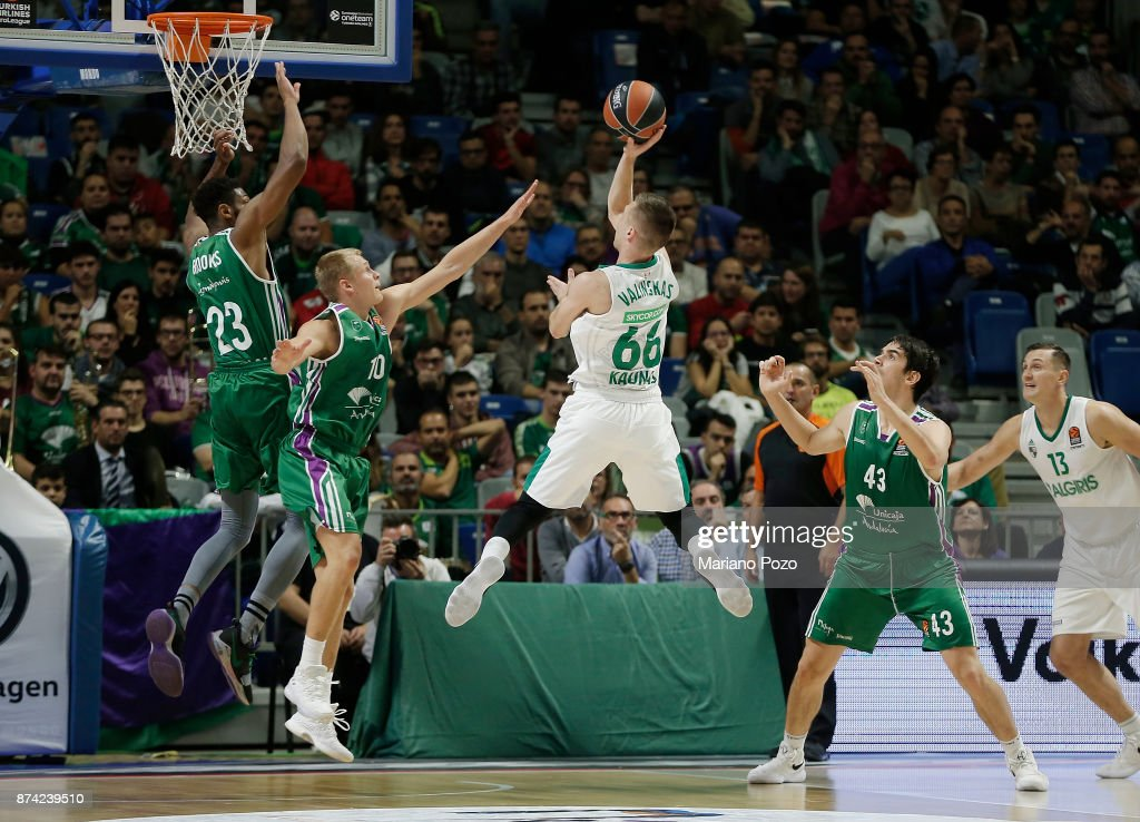 Paulius Valinskas, #66 of Zalgiris Kaunas in action during the 2017/2018 Turkish Airlines EuroLeague Regular Season Round 7 game between Unicaja Malaga and Zalgiris Kaunas at Martin Carpena Arena on November 14, 2017 in Malaga, Spain.