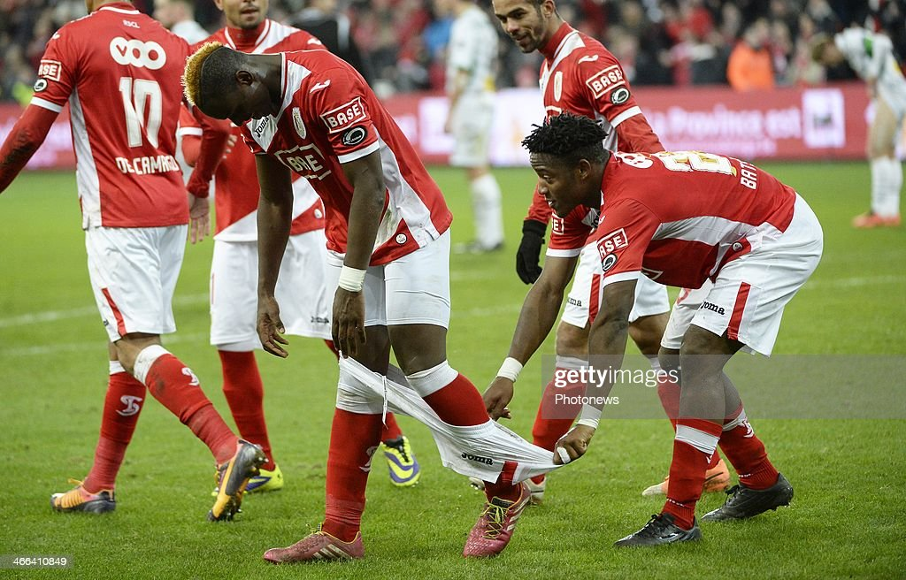 PaulJose Mpoku of Standard and Michy Batshuayi of Standard celebrates pictured during the Jupiler League match between Standard de Liege and Cercle...
